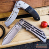 Image of 2 PC OUTDOOR CAMPING Folding BUCKSHOT Pocket Knife RAZOR Blade + BUCKSHOT CLEAVER SHAVER STYLE Pocket Knife Gift Set