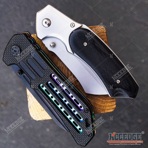 2 PC HUNTING SURVIVAL Assisted Open Buckshot TANTO Folding Pocket Knife + Buckshot Cleaver RAZOR Blade Gift Set