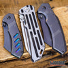 Image of 3 PC TACTICAL CAMPING Assisted Open Buckshot TANTO Folding Pocket Knife + Buckshot CLEAVER Folding Pocket Knife + EDC Little Cleaver Buckshot RAZOR Blade Gift Set