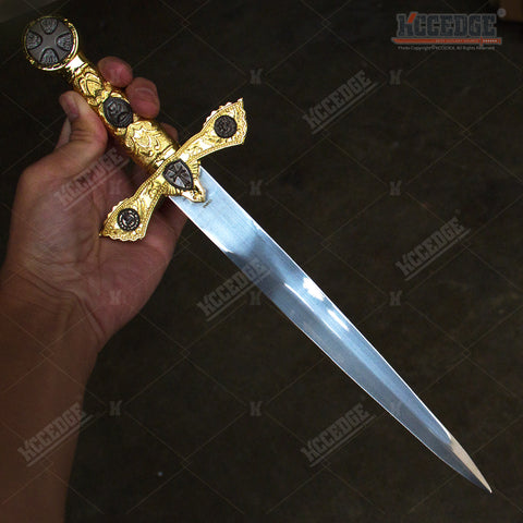 "15.5"" Medieval Crusader Knight's Templar Short Sword Dagger with Stainless Steel Blade"