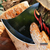 "Image of 11 3/8"" HUNTING ZOMBIE RED FLAME TOMAHAWK THROWING AXE Gut Hook Tactical Battle"
