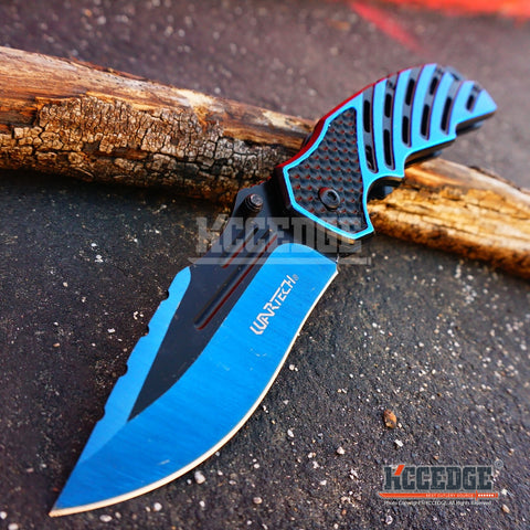 "3PC KNIFE COMBO SET! 8.25"" Two-Tone COMBAT FOLDER Survival HUNTING DROP POINT Razor Blade Assisted Open Xmas"
