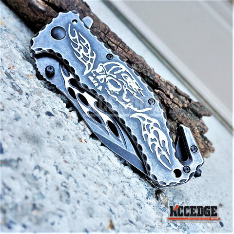 "4 COLORS 8"" 3MM HUNTING COMBAT DUTY STONEWASHED FLAME Stainless Steel Blade SKULL Handle Pocket Folding Knife"