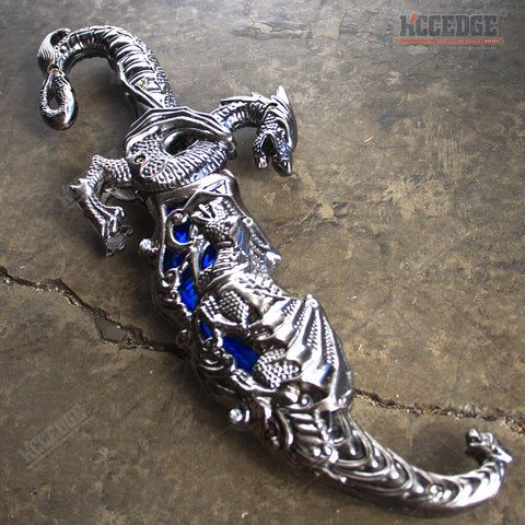 "10"" INLAY FANTASY DRAGON DAGGER Blade Knife Collectible Dagger Knife Home Decor"
