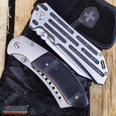 2 PC OUTDOOR CAMPING Folding BUCKSHOT Pocket Knife RAZOR Blade + BUCKSHOT CLEAVER SHAVER STYLE Pocket Knife Gift Set