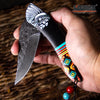 "Image of 8"" INDIAN CHIEF EDC POCKET KNIFE GRAY STONEWASHED BLADE TACTICAL FOLDING KNIFE"