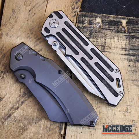 2 PC OUTDOOR EDC TACTICAL Assisted Open Buckshot TANTO Folding Pocket Knife + Buckshot Cleaver RAZOR Blade Gift Set