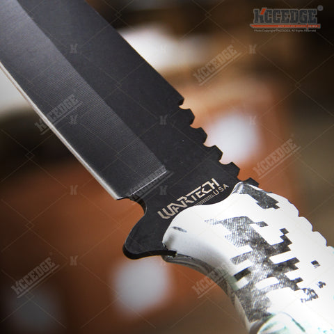"14 3/4"" HUGE BAYONET RAMBO TACTICAL JUNGLE SURVIVAL KNIFE Chrome Serrated SAWBACK Fixed Blade Glass Breaker +Sheath"