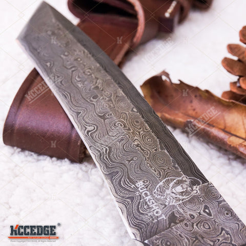 "12"" HANDMADE TANTO FIXED BLADE Hunting Knife 250 folded layers twist REAL DAMASCUS STEEL Double Guard Bull Horn FULL TANG w/ Genuine Leather Sheath"