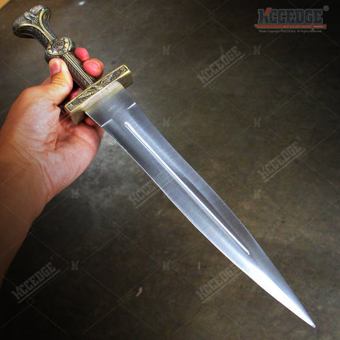 "16"" Roman Legionnaire Gold Dagger Gladiator Short Sword Soldier Knife"