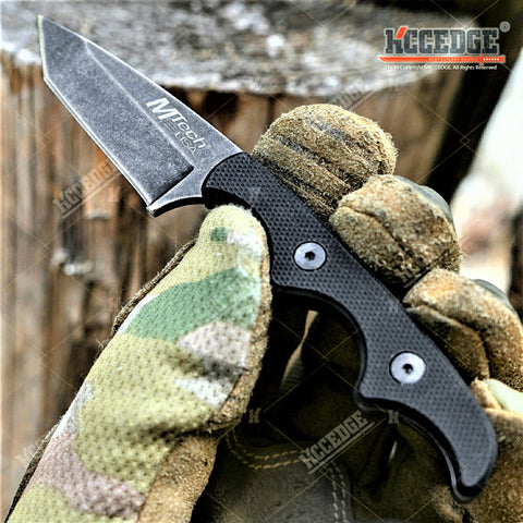 "5"" Full Tang Tanto Blade Tactical Fixed Blade Knife w/ Kydex Sheath And G10 Handle Scales"