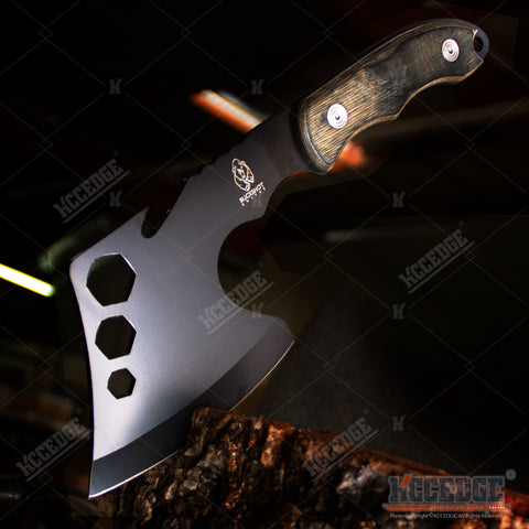 "11"" COMBAT OUTDOOR TOMAHAWK GUT HOOK THROWING AXE Tactical Battle Hatchet Hunting Hex Hole Zombie Survival Axe"