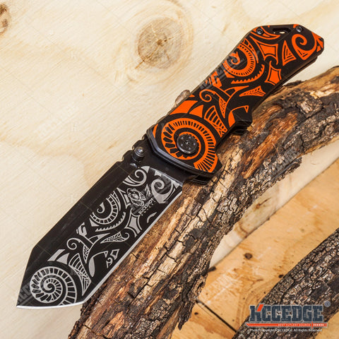 2PC TANTO Assisted Open BUCKSHOT Pocket Folding Knife + Damascus Etched CLEAVER