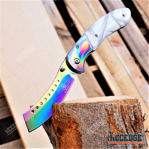 2 PC Rainbow Set CLEAVER SHAVER Style Folding Pocket Knife + EDC Mechanics MULTI TOOL WRENCH Mirror Finish Tactical Assisted Open Razor Blade Gift Set