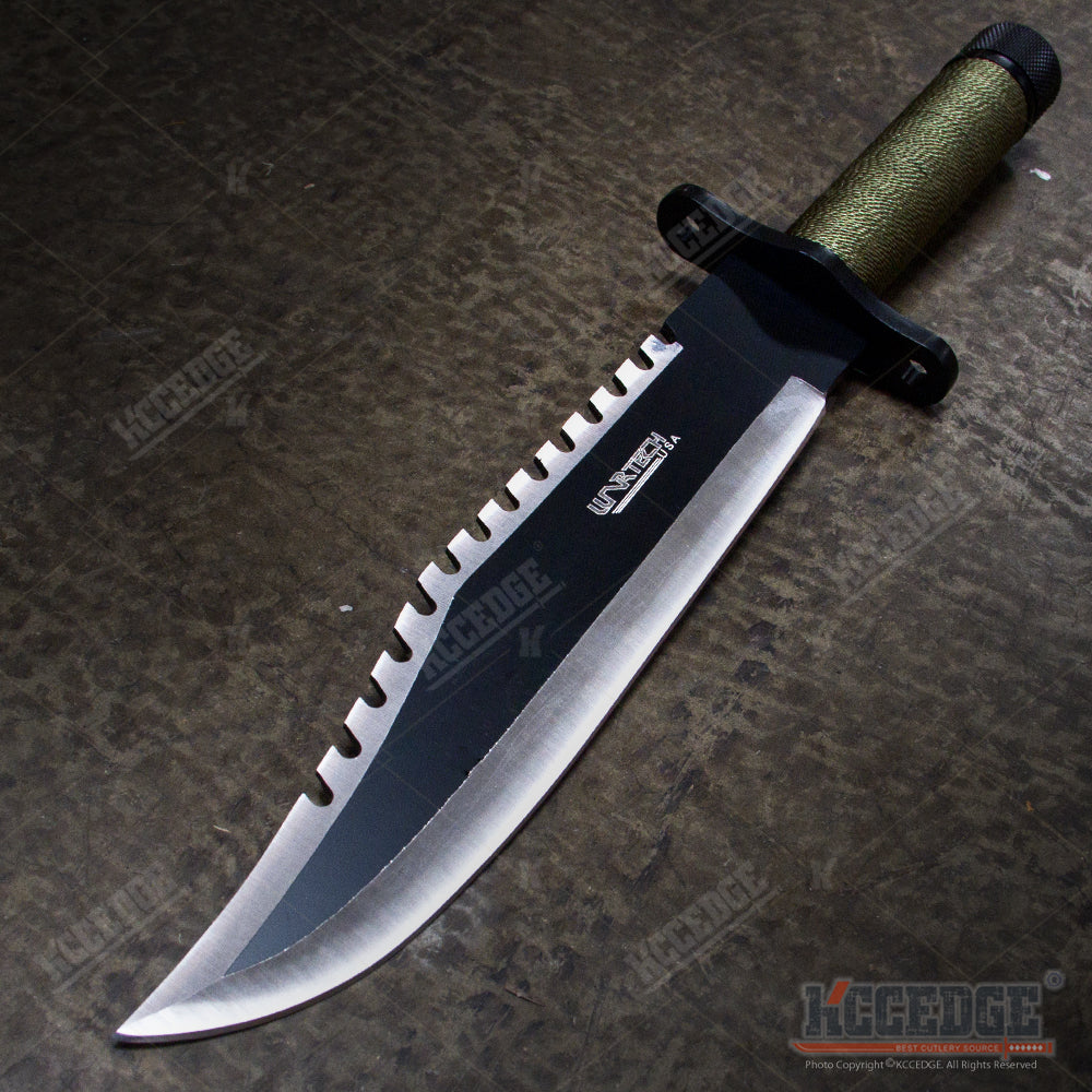 15 Two Tone Blade Rambo Survival Hunting Knife With Survival Kits Kcc Knives