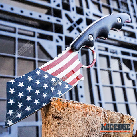 2 PC HUNTING SURVIVAL Folding BUCKSHOT Pocket Knife RAZOR Blade + FULL TANG Patriotic American Flag FIXED BLADE CLEAVER Style Gift Set