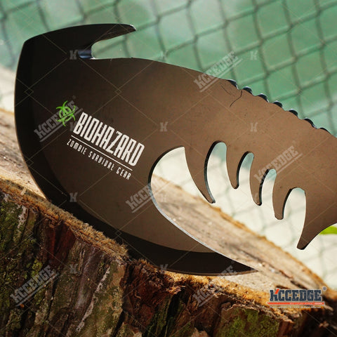 "11"" HUNTING BIOHAZARD ZOMBIE SURVIVAL THROWING AXE Gut Hook Battle Hatchet FULL"