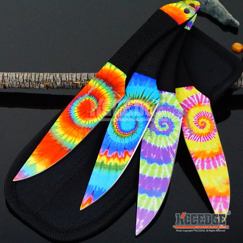 "4 Colors 4PC 9"" TIE DYE UNIQUE Survival Hunting Throwing Knife Set w/Sheath Wrapped Handle"
