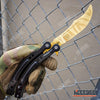 Image of 3 PC CS:GO Gold COMBO COUNTER STRIKE KARAMBIT Hawk Claw KNIFE + Non Sharp Balisong Butterfly Practice Knife + HUNTSMAN MILITARY Hunting Bowie GIFT SET