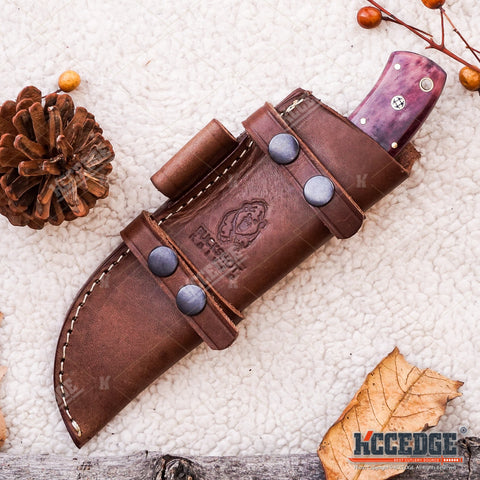 "9 1/2"" HANDMADE FIXED BLADE DROP POINT Classic Hunting Knife 250 folded layers twist REAL DAMASCUS STEEL Bison Horn FULL TANG w/ Genuine Leather Sheath"