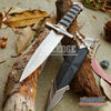 "Image of 11"" BLACK ASSASSIN DAGGER FANTASY Hunting Collectors Gift Medieval Knights Knife Steel Guard  w/ Scabbard & Chain"