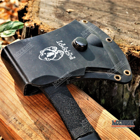 "11 5/8"" HUNTING TACTICAL TOMAHAWK THROWING AXE Steel Edge Battle Hatchet FULL TANG ZOMBIE Combat Ax Rubber Handle + Kydex Sheath"