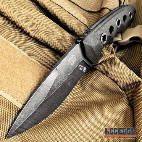 "9"" Full Tang Tactical Fixed Blade Knife G10 Handle w/ Kydex Sheath And Multi-Mount Molle Clip 58-59 HRC 440C Stainless Steel Blade 4mm Thick Blade With Black Stonewash Finish"