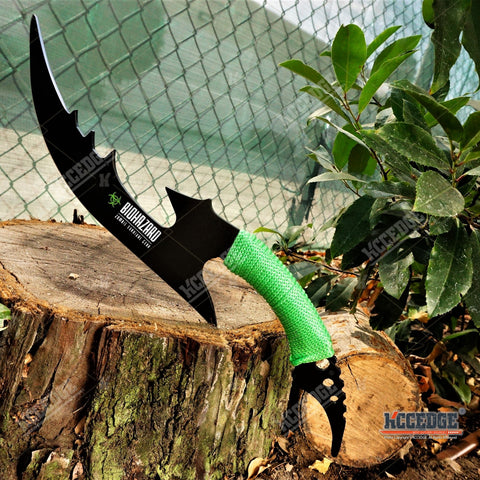 "15"" BIOHAZARD ZOMBIE THROWING BATTLE AXE Full Tang Black Curved Gut Hook CHOPPER HUNTERS SURVIVAL KNIFE"