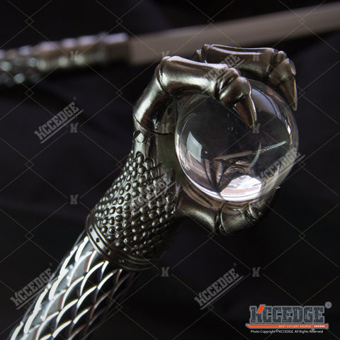 "29.75"" Double Blade Steel Fantasy Dragon Dagger with Crystal Ball Claw"