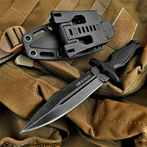 "9"" Fixed Blade Knife With Kydex Sheath And Molle Compatible Sheath Attachment"
