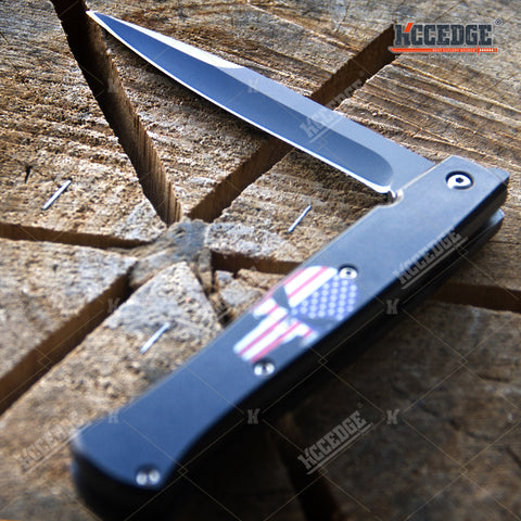 "8.5"" Folding Knives w/ Skull Graphics on Blacked Out Pocket Knife"