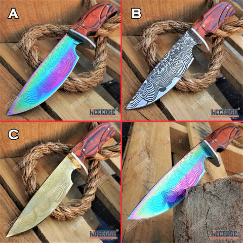 "10"" FULL TANG HUNTING KNIFE Wooden Handle SURVIVAL BOWIE STYLE w/ Sheath"