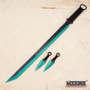 "Image of 27"" NINJA SWORD TANTO Machete + 2 Throwing Knife Full Tang Tactical Blade Katana"
