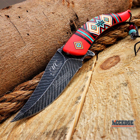 Traditional Classic NATIVE AMERICAN INDIAN POCKET FOLDING KNIFE Damascus Blade