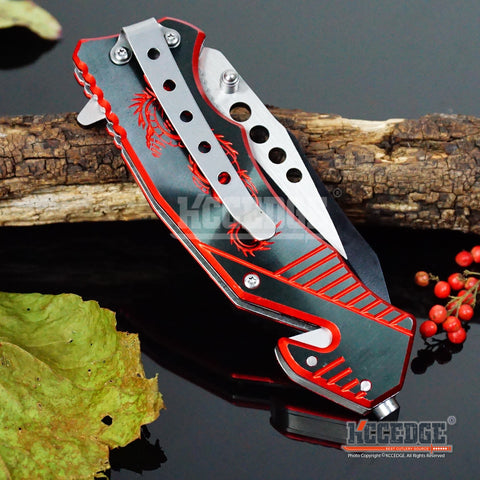 "5 COLOR  8"" HUNTING CAMPING FISHING RESCUE DROP POINT RAZOR Blade Assisted Open"