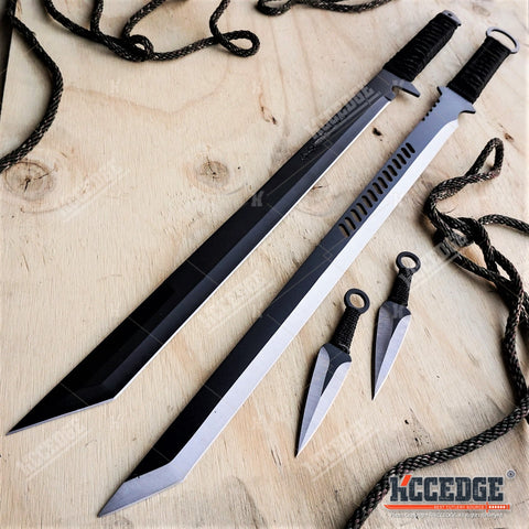 "2PC 27"" FULL TANG NINJA SWORD COMBO TANTO BLADES w/2 Throwing Knives"