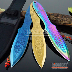 "3 Colors 3PC 9"" Ninja Kunai Throwers Dragon Etched Flames Survival Hunting Throwing Knife Set with Sheath Outdoor Combat"