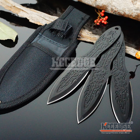 "3 Colors 3PC 6.5"" Ninja Kunai  Etched Dragon Flames Military Tactical Throwing Knife Set with Sheath Hunting Combat"