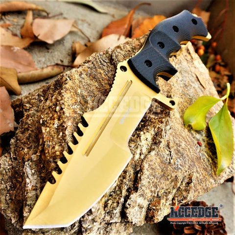 2PC CSGO GOLD KNIFE Set COUNTER-STRIKE HUNTSMAN KNIFE + Fixed Blade KARAMBIT