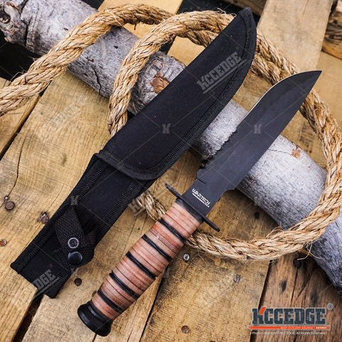"12"" MILITARY USMC Tactical Fixed Blade Hunting Knife w/ Comfortable Grip"