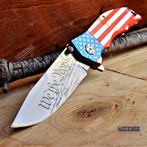"3PC PATRIOTIC MILITARY SET CAMO KNIFE + Proud of USA KNIFE + Mini 6.5"" CLEAVER"