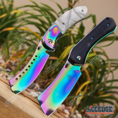2PC BUCKSHOT SET Assisted CLEAVER Style Blade + CLEAVER SHAVER STYLE Pocket Knife