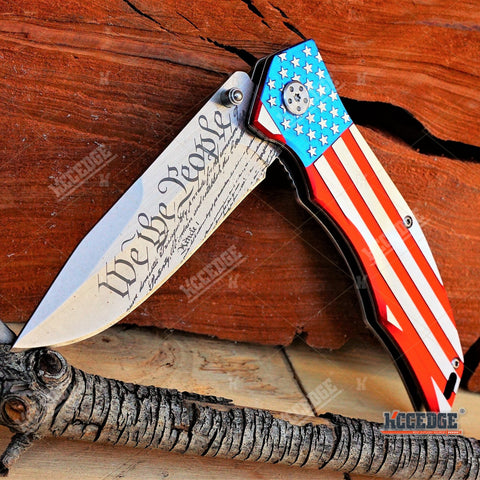 "9"" Proud of America DON'T TREAD ON ME OUTDOOR HUNTING POCKET FOLDING KNIFE"