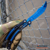 Image of 3PC CSGO NonSharp Blue Galaxy Balisong + FIXED Karambit + Little CLEAVER Knife