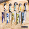 "Image of 13"" COLLECTOR'S HUNTING WILDLIFE DAGGER 5 Types Animal Head Pommel Fixed Blade Graphic Scene on Scabbard"
