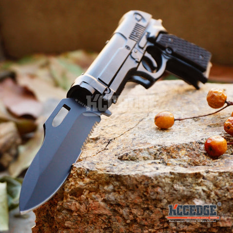 "8"" Assisted Open PISTOL FOLDING POCKET knife"