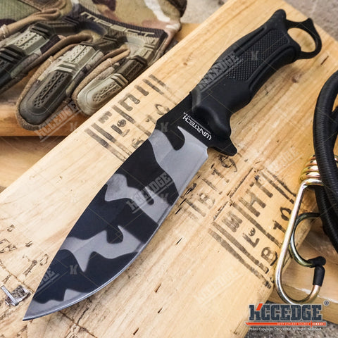 "14.75"" JUNGLE CAMO SURVIVAL Fixed Blade KNIFE w/Sheath"