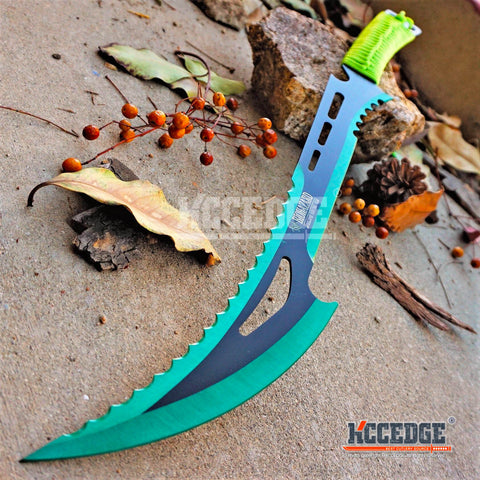 "24"" Technicolor BIOHAZARD NINJA SWORD Full Tang Machete ZOMBIE SLASHER SAW TEETH"