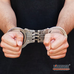 Special Force Hinge REAL Handcuffs METAL Double Lock TACTICAL Hand Cuffs Keys