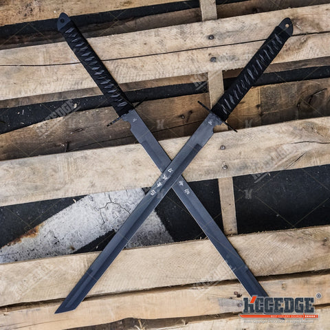 "2PC Large Full Tang 28"" Ninja Twin Tanto Blade Sword Machete w/Nylon Sheath"